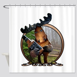 whiskey moose Shower Curtain