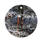 Snowy Cattails Ornament (Round)