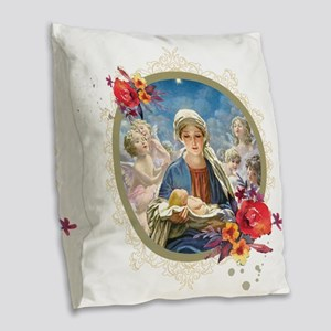 Star of Bethlehem Burlap Throw Pillow