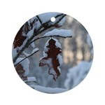 Snowy Oak Leaf Ornament (Round)