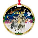 JoyWreath-2Schnauzers Round Ornament