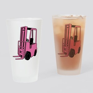 Pink Forklift Drinking Glass