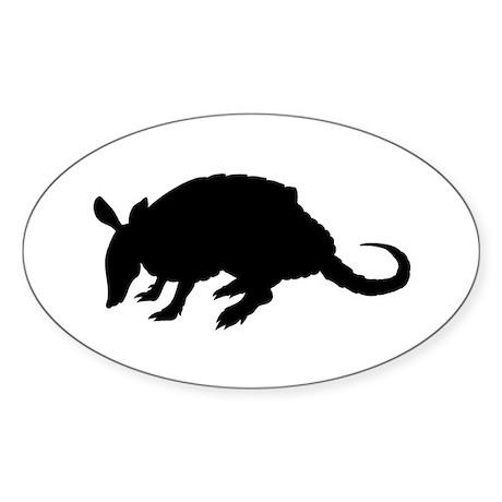 Armadillo (Silhouette) Oval Sticker