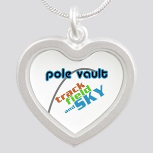 Pole Vault Track Field Sky Silver Heart Necklace