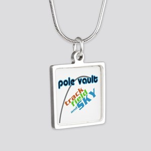 Pole Vault Track Field Sky Silver Square Necklace