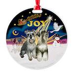 XSunrise+Santa-2 Schnauzers Round Ornament