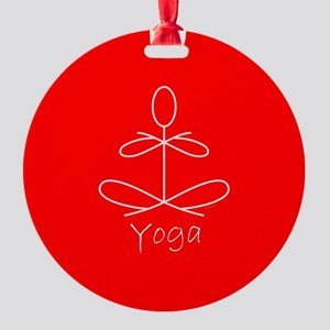 Yoga Glee in Red Round Ornament