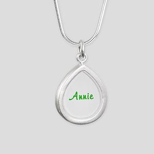 Annie Glitter Gel Silver Teardrop Necklace