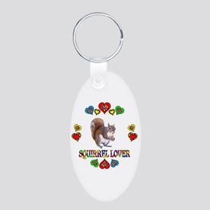 Squirrel Lover Aluminum Oval Keychain