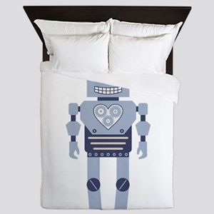 Heart Gear Robot Queen Duvet