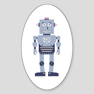 Heart Gear Robot Sticker (Oval)