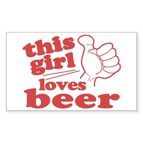 This Girl Loves Beer Sticker (Rectangle)