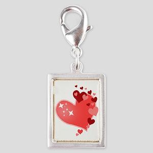 I Love You Hearts Silver Portrait Charm