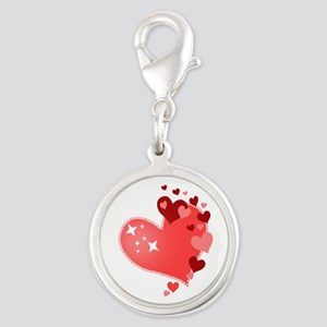 I Love You Hearts Silver Round Charm