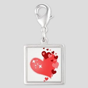 I Love You Hearts Silver Square Charm