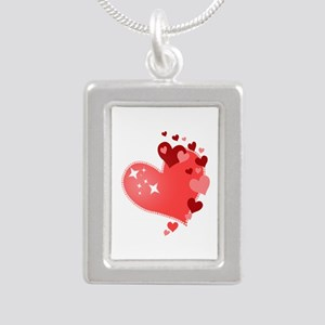 I Love You Hearts Silver Portrait Necklace
