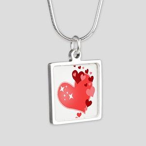 I Love You Hearts Silver Square Necklace