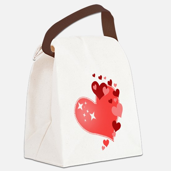 I Love You Hearts Canvas Lunch Bag