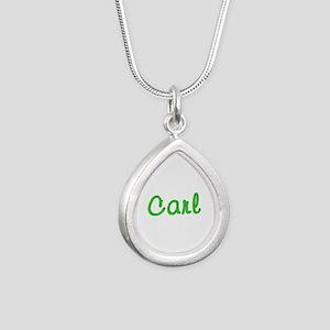 Carl Glitter Gel Silver Teardrop Necklace