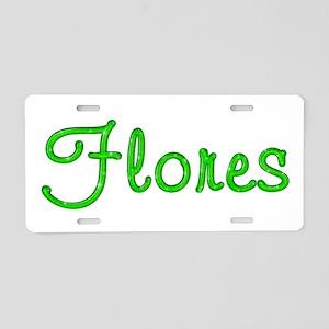 Flores Glitter Gel Aluminum License Plate