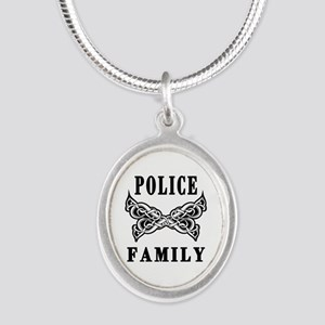 Police Family Silver Oval Necklace