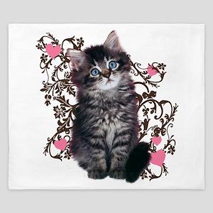 Cute Kitten Kitty Cat Lover King Duvet