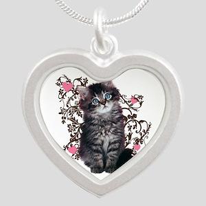Cute Kitten Kitty Cat Lover Silver Heart Necklace