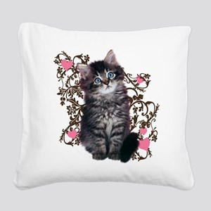 Cute Kitten Kitty Cat Lover Square Canvas Pillow