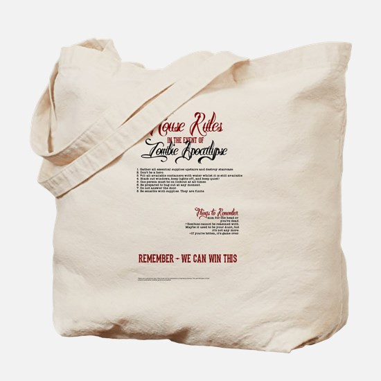 Zombie Apocalypse House Rules Tote Bag