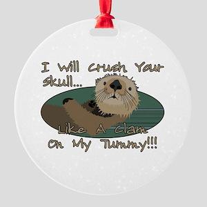Otter Skull Crush Round Ornament