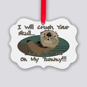 Otter Skull Crush Picture Ornament