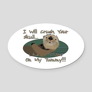 Otter Skull Crush Oval Car Magnet