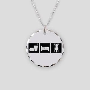 Eat Sleep Drag Necklace Circle Charm