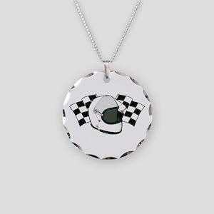 Helmet & Flags Necklace Circle Charm