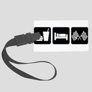 EatSleepRaceDesign2 Large Luggage Tag