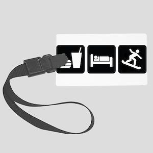 EatSleepSnowboardDesign2 Large Luggage Tag