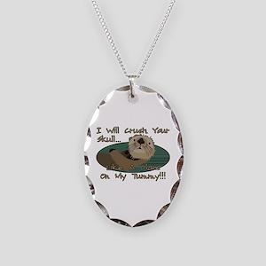 Otter Skull Crush Necklace Oval Charm