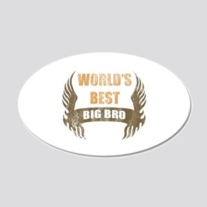 World's Best Big Bro (Wings) 20x12 Oval Wall Decal