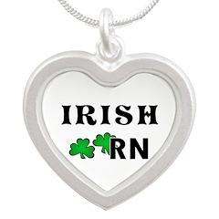 Irish Nurse RN Silver Heart Necklace