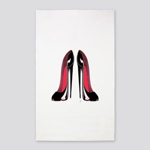Pair of black stiletto shoes art 3'x5' Area Rug