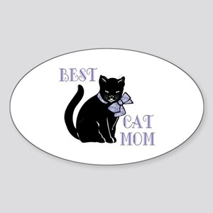 Best Cat Mom Sticker (Oval)
