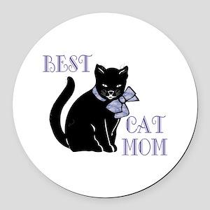 Best Cat Mom Round Car Magnet