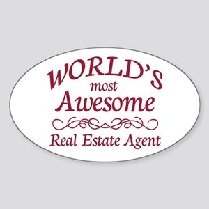 Awesome Real Estate Agent Sticker (Oval)