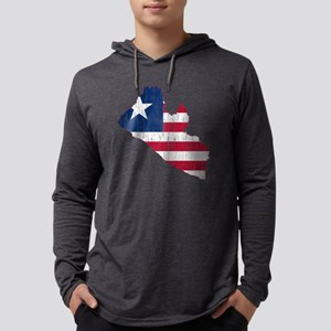 Liberia Flag and Map Aged Mens Hooded Shirt