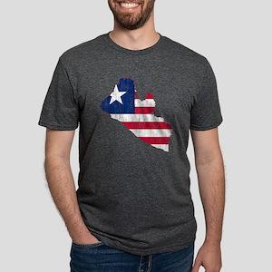 Liberia Flag and Map Aged.p Mens Tri-blend T-Shirt