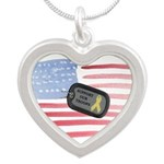 Support Our Troops Silver Heart Necklace