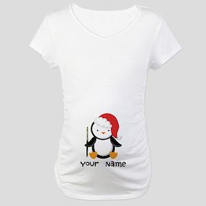 Personalized Flute Penguin Maternity T-Shirt