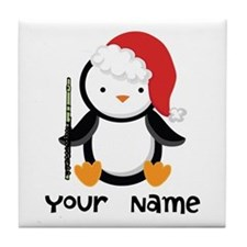 Personalized Flute Penguin Tile Coaster