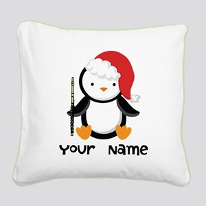 Personalized Flute Penguin Square Canvas Pillow