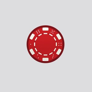 Red Poker Chip Mini Button